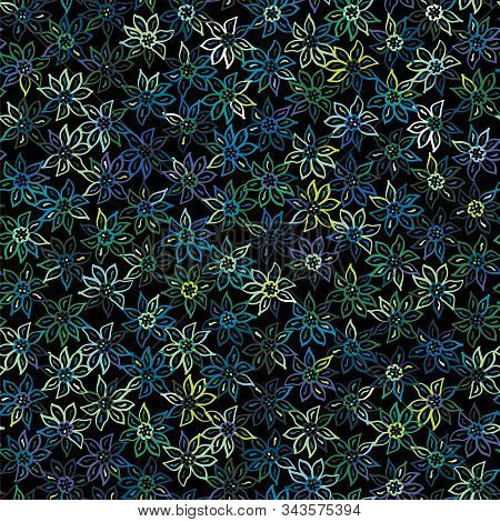 Funky Stylized Moody Naive Floral Micro Pattern