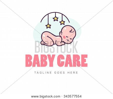 Baby Logo Design With Sleeping Naked Cute Baby And Bed Mobile Toy Symbol Isolated On White Backgroun