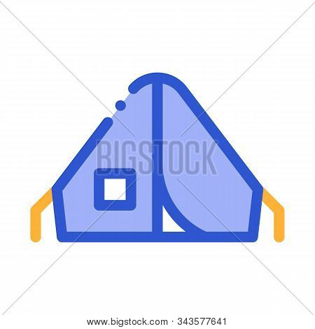 Camping Tent Alpinism Sport Equipment Vector Icon Thin Line. Compass, Mountain Direction And Burner