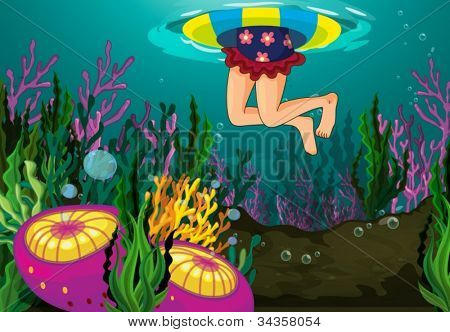 a girl swimming in a water with floater