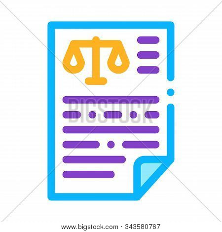 Judicial Document Law And Judgement Icon Vector Thin Line. Contour Illustration