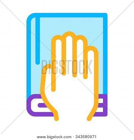 Constitution Book Law And Judgement Icon Vector Thin Line. Contour Illustration poster
