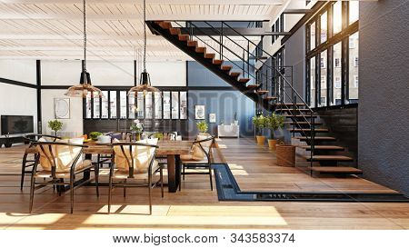 modern domestic dining room interior. 3d rendering design concept