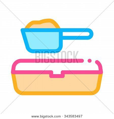Sand Tray And Scoop Icon Vector. Outline Sand Tray And Scoop Sign. Isolated Contour Symbol Illustrat