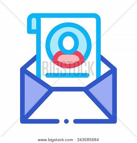 Envelope With Voter Information Sheet Icon Vector. Outline Envelope With Voter Information Sheet Sig