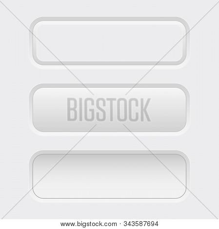 White Interface Buttons. Normal And Pushed. Vector 3d Illustration