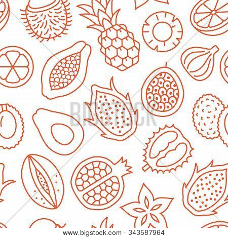 Exotic Fruits Background, Abstract Food Seamless Pattern. Tropical Fruit Wallpaper With Papaya, Pine