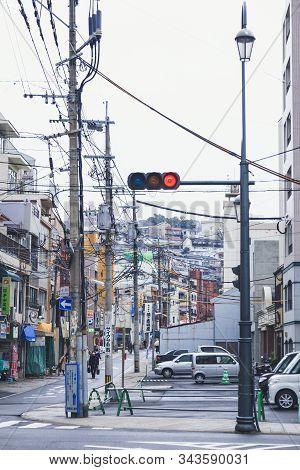 Nagasaki City Street Building And People Walking Urban City Lifestyle Nagasaki, Japan - Feb 22, 2012