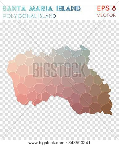 Santa Maria Island Polygonal, Mosaic Style Island Map. Magnetic Low Poly Style, Modern Design For In