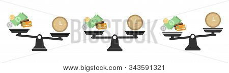 Money and Time balance an imbalance of scales. Clock and money symbols on scale. Set of Scales. Time is Money poster