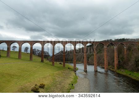 Leaderfoot Viaduct. Leaderfoot Viaduct Is A Railway Viaduct Over The River Tweed In The Scottish Bor