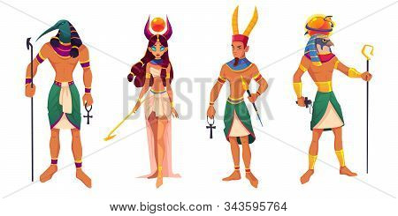 Egyptian Gods Amun, Ra, Thoth, Hathor. Ancient Egypt Deities And Mythological Creatures With Religio