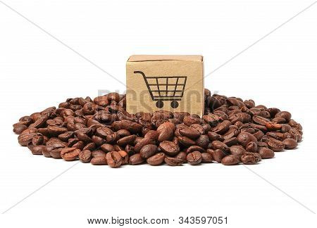 Box With Shopping Cart Logo Symbol On Coffee Beans  : Import Export Shopping Online Or Ecommerce Del
