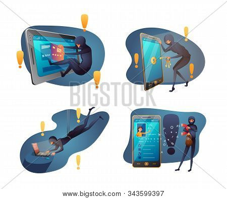 Hacking Activity Flat Vector Illustration Pack. Hacker Attack, Internet Crime, Digital Fraud. Credit