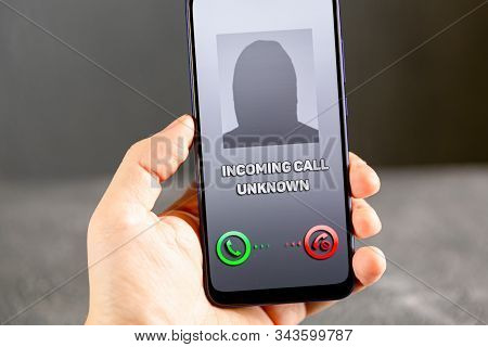 Phone Call From Unknown Number. Scam, Fraud Or Phishing With Smartphone Concept. Prank Caller, Scamm