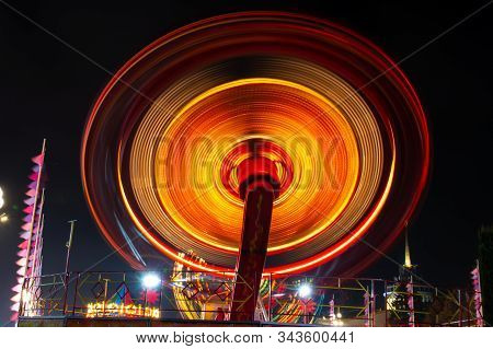 Photo Of A Carousel At Night In A Long Exposure