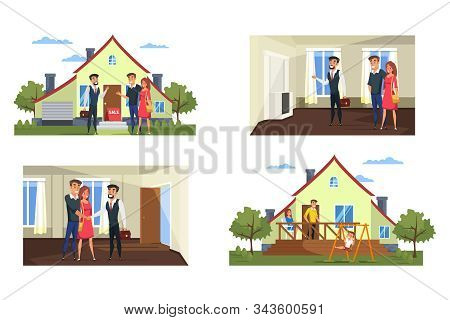 Real Estate Purchase Process Vector Illustrations Set. Realtor Showing Apartment, Family Choosing Ho