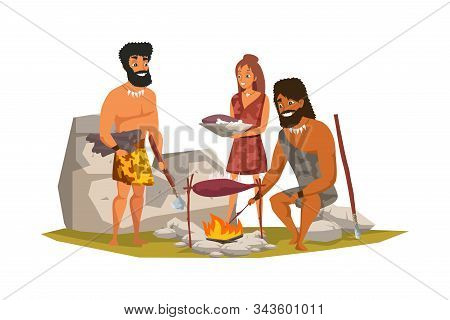 Stone Age People Frying Meat Flat Vector Illustration. Prehistoric Life. Primitive Men Cooking Dinne