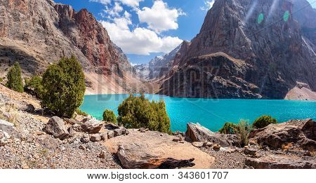 Beautiful View To Mountains In Tajikistan. Fan Mountains. Greater Allo Lake In Fann Mountains. Amazi