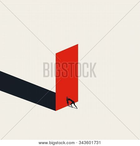 Business Woman Removing Obstacles, Overcoming Challenge In Career Vector Concept. Symbol Of Emancipa