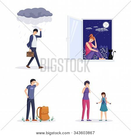 People In Depression Vector Illustrations Set. Angry Man Walking While Raining, Tired Guy With Backp