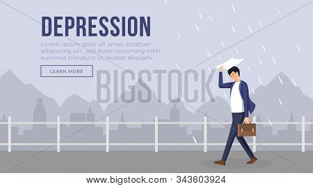 Depression Landing Page Template Vector Illustration. Businessman Character In Bad Mood Walking Whil