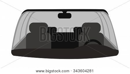 Car Front Windshield Vector Illustration. Automobile Interior With Grey Front Seats, Steering Wheel,