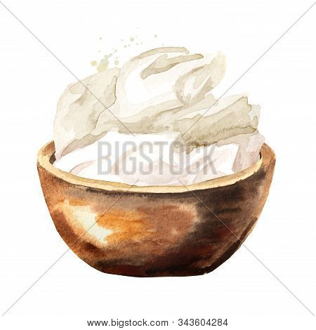 Mascarpone Cream Cheese In Wooden Bowl. Watercolor Hand Drawn Illustration Isolated On White Backgro