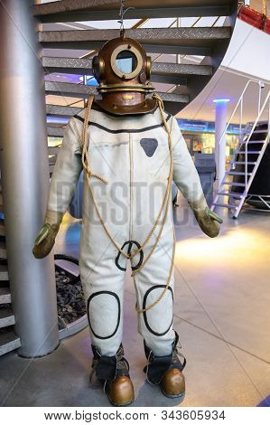 Old Vintage Three-bolt Deep-sea Diving Suit. Suit For Deep Sea Diving Of The Last Century. The Histo