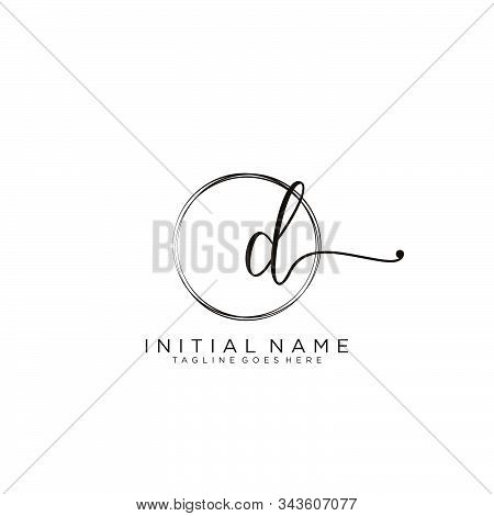 Bd Initial Handwriting Logo With Circle Template Vector.