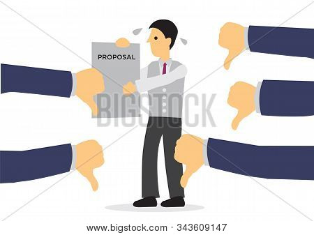 Businessman Angry With The Disapproval Of His Proposal. Concept Of Corporate Failure. Vector Isolate
