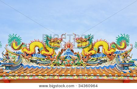 Twin Dragon On Chinese Temple Roof in Thailand poster