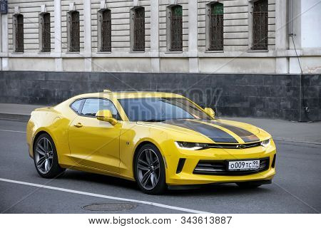 Moscow, Russia - April 19, 2019: American Muscle Car Chevrolet Camaro In The City Street.