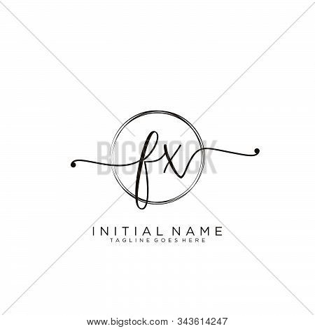 Fx Initial Handwriting Logo With Circle Template Vector.