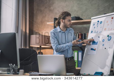 Young Bearded Man In Eyeglasses Looking Busy At The White Board