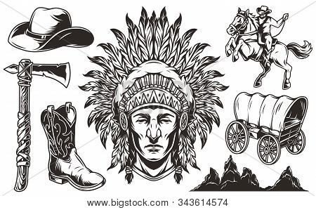 Vintage Wild West Monochrome Elements Set With Indian Chief Head Old Wagon Cowboy Hat Boot Tomahawk