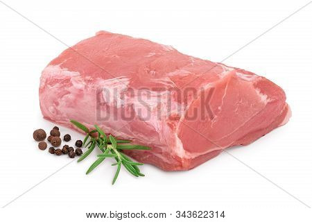 Raw Pork Meat With Rosemary And Peppercorn Isolated On White Background