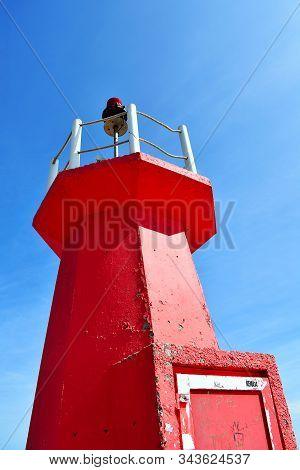 Red Lighthouse On The Gola Del Segura On The Segura River Of Guardamar Del Segura, Alicante. Spain.