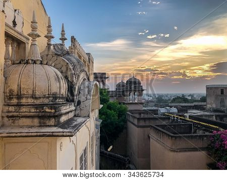 Sunrise Over The Skyline And Buildings Of Mandawa, Rajasthan India In The Autumn.