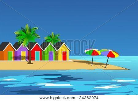 An illustration scenic beach landscape