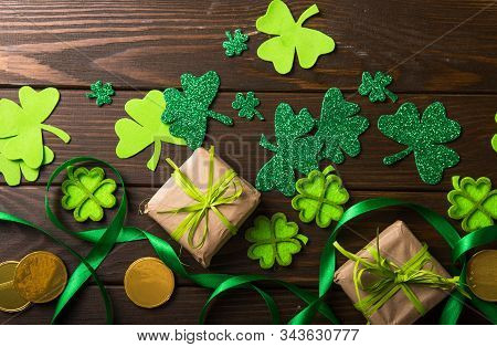 Happy St. Patrick's Day. Card With Lucky Clover.  Irish Festival Symbol.  Concept Background With Gi