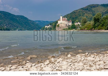 Schonbuhel castle, built on a rock on Danube river is a main historical landmark in Wachau valley, Austria