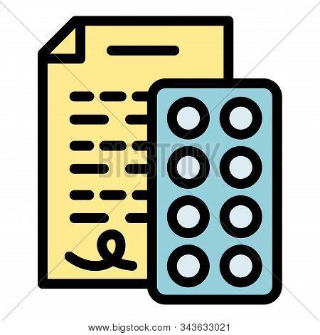 Doctor Pill Prescription Icon. Outline Doctor Pill Prescription Vector Icon For Web Design Isolated