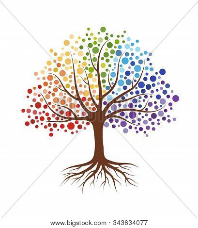 Abstract Tree With Roots And Colorful Round Leaves. Isolated On White Background. Flat Style, Vector