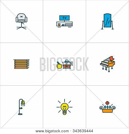 Home Decoration Icons Colored Line Set With Floor Mirror, Tv Bench, Lightbulb And Other Streetlight