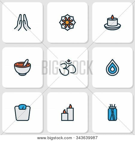 Relax Icons Colored Line Set With Hinduism, Mandala, Paraffin Mortar Elements. Isolated Vector Illus