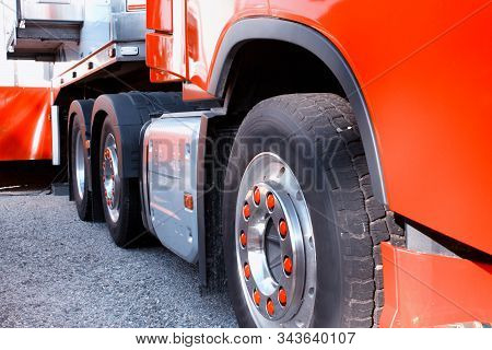 Modern Red Truck And Trailer With Tires