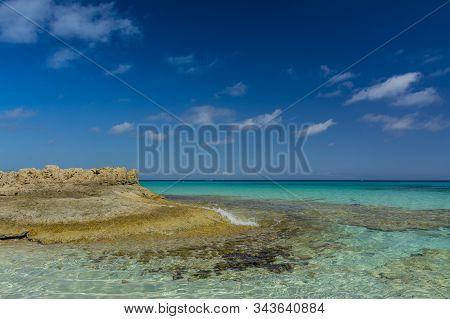 Lonely Beach Of Es Calo. West Coast Of Island