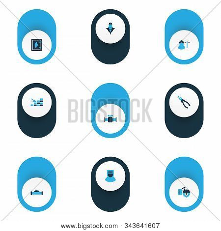 Industrial icons colored set with man with drill, pliers, welder and other nippers elements. Isolated vector illustration industrial icons. poster