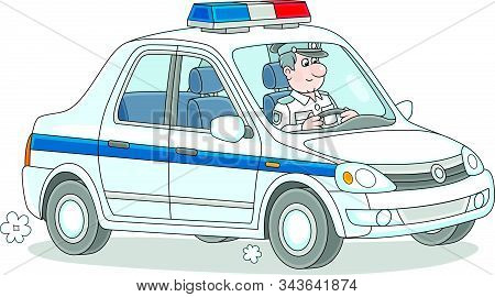 Police Car With A Traffic Policeman On-duty During Patrol, Vector Cartoon Illustration Isolated On A